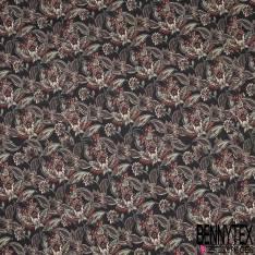 Sergé de Coton Imprimé Floral Cachemire fond Noir