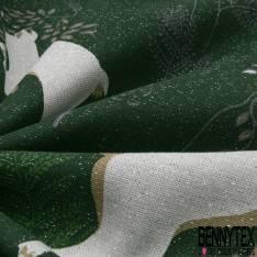 Toile de Coton Imprimé Saut de Biche fond Vert Anglais Paillette Argent