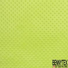 Minky Pois effet Gaufré Uni Vert Pomme