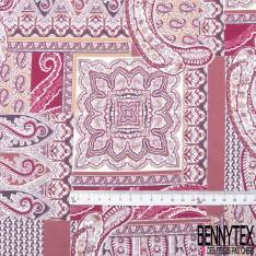 Satin Polyester Imprimé Cachemire ton Prune Violet fond Blanc