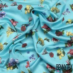 Satin de Coton de Soie imprimé Floral fond Bleu Turquoise