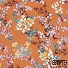 Satin de Coton de Soie imprimé Fleur Sauvage fond Abricot