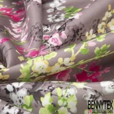 Satin de Coton de Soie imprimé Fleur Sauvage fond Taupe