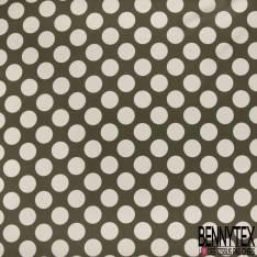 Satin de Coton de Soie imprimé Gros Pois Rose Pastel fond Gris Taupe Rétro