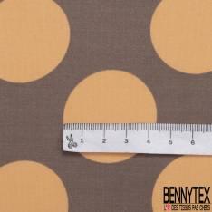 Satin de Coton de Soie imprimé Gros Pois Orange Pastel fond Taupe Rétro