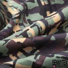 Satin de Coton de Soie imprimé Feuillage Tropical ton Vert fond Noir