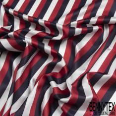 Satin de Coton de Soie imprimé Rayure Verticale Nuit Rouge Blanc