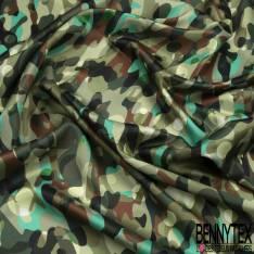 Satin de Coton de Soie imprimé Camouflage ton Vert