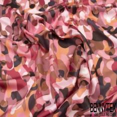 Satin de Coton de Soie imprimé Camouflage ton Rose