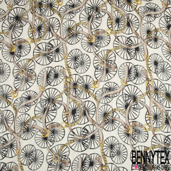 Mousseline Voile Polyester Rayure Verticale Lurex Or Motif Roue et Anse Chic Or fond Ecru