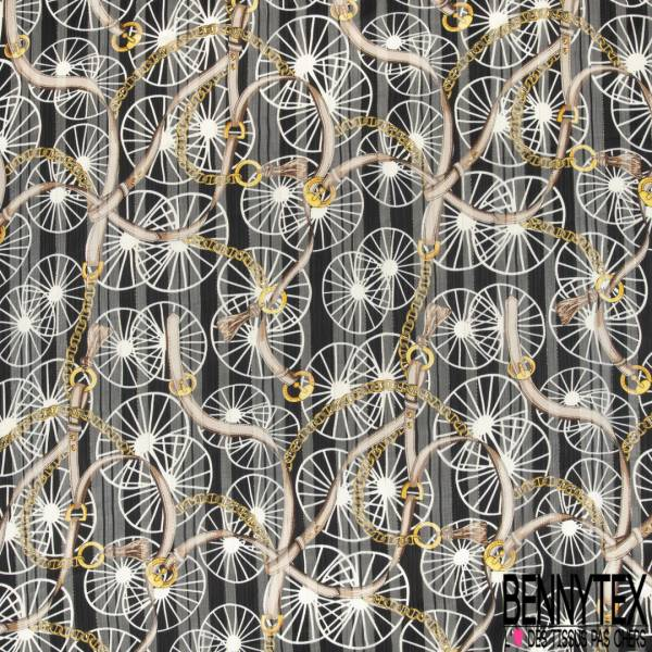 Mousseline Voile Polyester Rayure Verticale Lurex Or Motif Roue et Anse Chic Or fond Noir