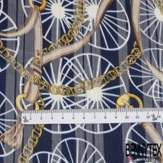 Mousseline Voile Polyester Rayure Verticale Lurex Or Motif Roue et Anse Chic Or fond Marine