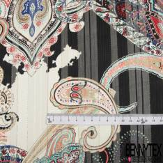 Mousseline Voile Polyester Rayure Verticale Lurex Or Motif Cachemire Multicolore fond Ecru