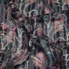 Mousseline Voile Polyester Rayure Verticale Lurex Or Motif Cachemire Multicolore fond Bleu Nuit