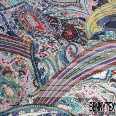 Mousseline Voile Polyester Rayure Verticale Lurex Or Motif Cachemire Multicolore fond Indigo