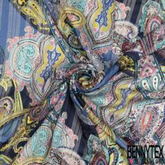 Mousseline Voile Polyester Rayure Verticale Lurex Or Motif Cachemire Multicolore fond Indigo