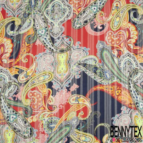 Mousseline Voile Polyester Rayure Verticale Lurex Or Motif Cachemire Multicolore fond Marine