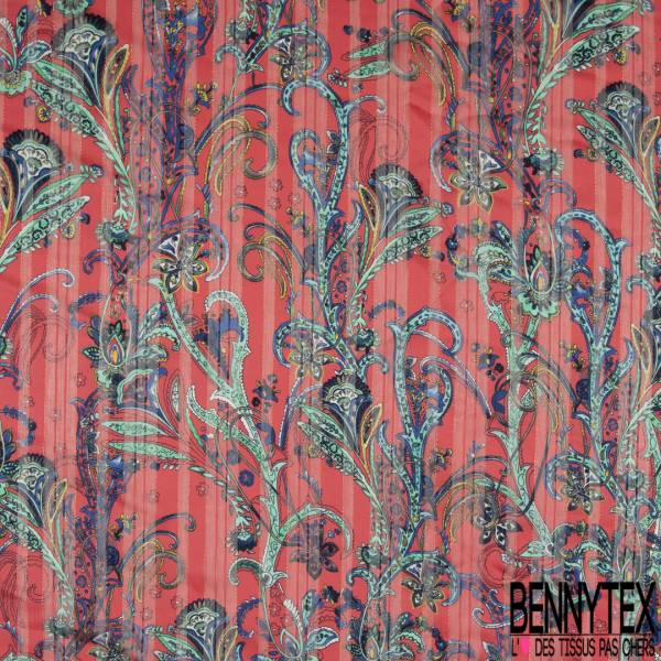 Mousseline Voile Polyester Rayure Verticale Lurex Or Motif Cachemire Multicolore fond Corail