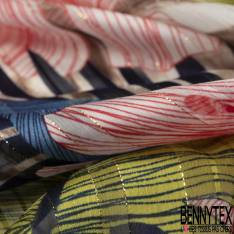 Mousseline Voile Polyester Rayure Verticale Lurex Or Motif Grande Feuille Tropicale Jaune Bleu fond Ecru