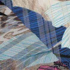 Mousseline Voile Polyester Rayure Verticale Lurex Or Motif Grande Feuille Tropicale Rose Bleu fond Ecru