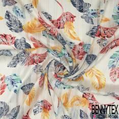 Mousseline Voile Polyester Rayure Verticale Lurex Or Motif Petite Feuille Virvoltante fond Ecru