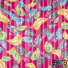 Mousseline Voile Polyester Rayure Verticale Lurex Or Motif Petite Feuille Virevoltante fond Fushia