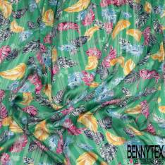 Mousseline Voile Polyester Rayure Verticale Lurex Or Motif Petite Feuille Virevoltante fond Emeraude