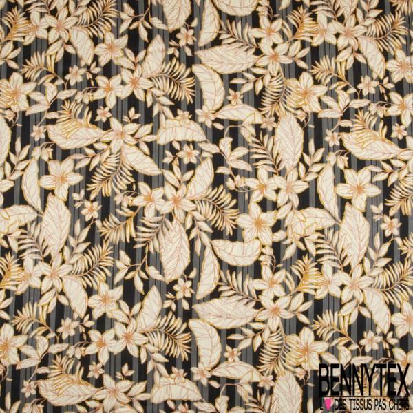 Mousseline Voile Polyester Rayure Verticale Lurex Or Motif Plante Tropicale fond Noir