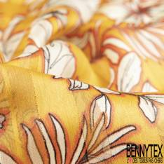 Mousseline Voile Polyester Rayure Verticale Lurex Or Motif Plante Tropicale fond Moutarde