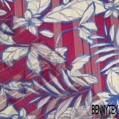 Mousseline Voile Polyester Rayure Verticale Lurex Or Motif Plante Tropicale fond Magnolia