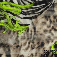 Mousseline Voile Polyester Rayure Verticale Lurex Or Motif Baroque Vert Fluo Peau de Bête