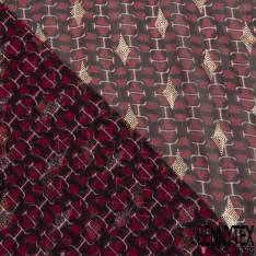 Mousseline Voile Polyester Motif Boucle de Ceinture Entremêlée Losange Milar Or fond Vert Anglais