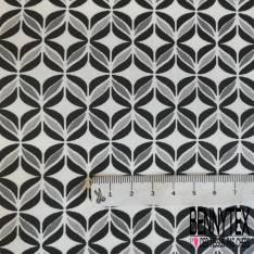 Coton imprimé Seventies ton Noir Gris fond Blanc