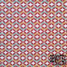 Coton imprimé Seventies ton Rouge Moutarde Vert fond Blanc
