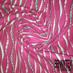 Coton imprimé Bande Verticale Fantaisie Multicolore fond Orchidée