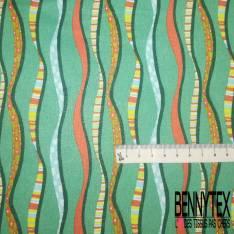 Coton imprimé Bande Verticale Fantaisie Multicolore fond Vert Emeraude Clair