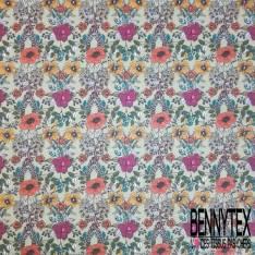 Coton imprimé Floral Printanier fond Vert Tilleul