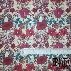Coton imprimé Floral Printanier fond Sable