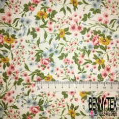 Coton imprimé Esprit Floral Champêtre Printemps fond Blanc