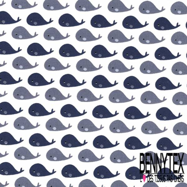 Coton imprimé Petite Baleine Marine et Grise fond Blanc