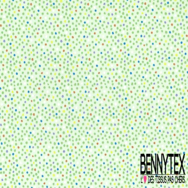 Coton imprimé Petit Pois Multicolore fond Vert Pastel