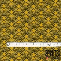 Coton imprimé Motif Japonisant fond Moutarde