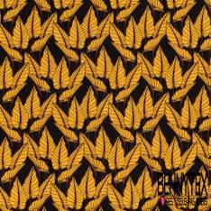 Coton imprimé Feuillage Moutarde Tropicale fond Noir