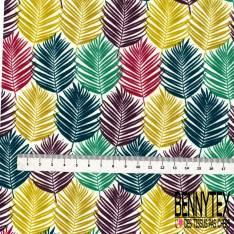 Coton imprimé Feuille Graphique ton Vert fond Blanc