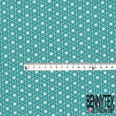 Coton imprimé Motif Géométrique Japonisant Blanc fond Turquoise