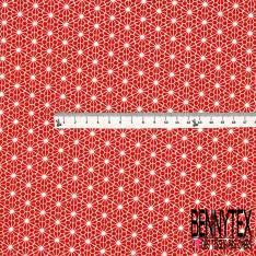 Coton imprimé Motif Géométrique Japonisant Blanc fond Rouge