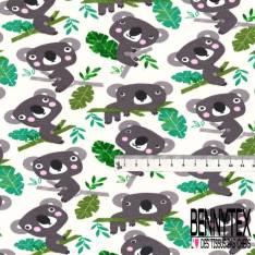 Jersey Coton Elasthanne Imprimé Poisson japonais Graphique Milar Cuivre fond Gris Chiné