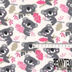 Jersey Coton Elasthanne Imprimé Koala Gris sur Bambou Rose fond Blanc