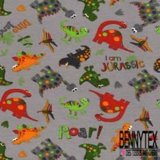 Jersey Coton Elasthanne Imprimé Petit Dino Rigolo fond Gris