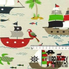 Jersey Coton Elasthanne Imprimé Pirate Moussaillon Pieuvre fond Mastique